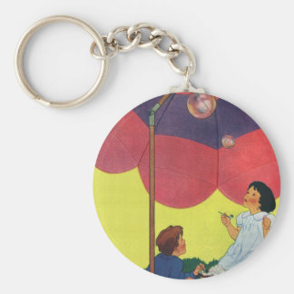 Vintage Children Play Girl and Boy Blowing Bubbles Basic Round Button Key Ring