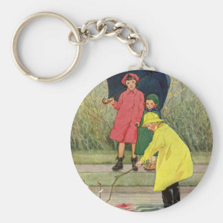 Vintage Children Playing Puddles Toy Boats Rain Basic Round Button Key Ring