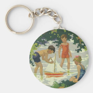 Vintage Children Playing Toy Sailboats Summer Pond Basic Round Button Key Ring