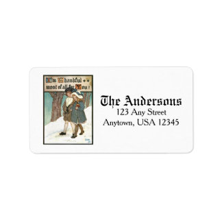 Vintage Children with Thanksgiving Greeting Address Label