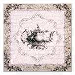 Vintage China Teapot Bridal Shower Tea Party 13 Cm X 13 Cm Square Invitation Card