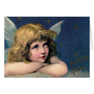 Vintage Christmas Angel and Gold Stars Greeting Card