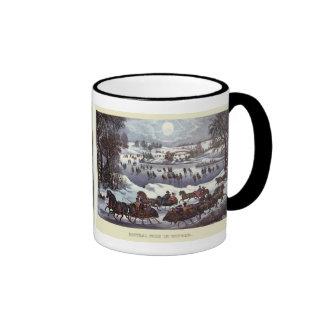 Vintage Christmas, Central Park in Winter Ringer Mug