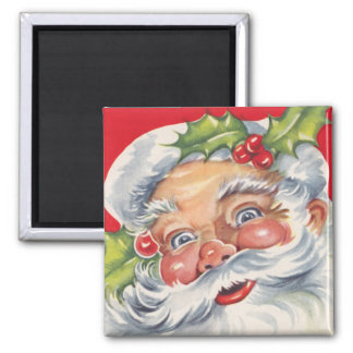 Vintage Christmas, Jolly Santa Claus with His Hat Square Magnet