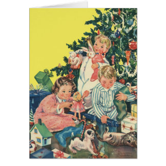 Vintage Christmas Morning, Children Opening Gifts Greeting Card