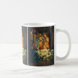 Vintage Christmas Nativity, Baby Jesus in Manger Basic White Mug