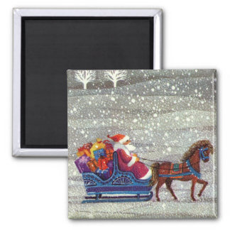 Vintage Christmas, Santa Claus Horse Open Sleigh Square Magnet