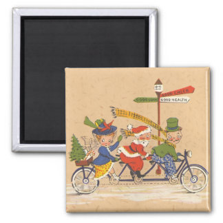 Vintage Christmas, Santa Claus Riding a Bicycle Square Magnet