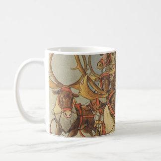 Vintage Christmas Santa Claus Sleigh with Reindeer Basic White Mug