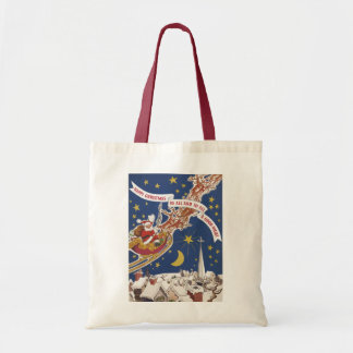 Vintage Christmas Santa Claus With Flying Reindeer Budget Tote Bag
