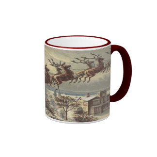 Vintage Christmas, Victorian Santa Claus in Sleigh Ringer Mug