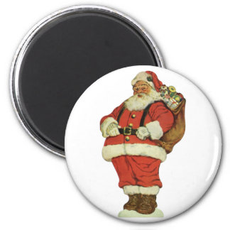 Vintage Christmas, Victorian Santa Claus with Toys 6 Cm Round Magnet