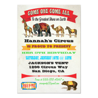 Vintage Circus Animals Birthday Party Invitations