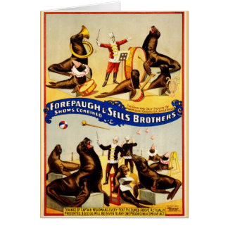 Vintage Circus - Sea Lions and Seals Greeting Card