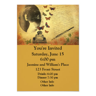 Vintage Collage Woman Writer and Butterflies 13 Cm X 18 Cm Invitation Card
