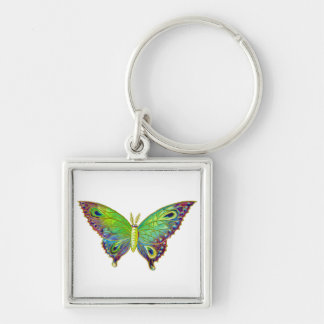 Vintage Colorful Moth Silver-Colored Square Key Ring