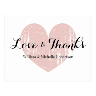 Vintage coral pink heart love and thanks postcards