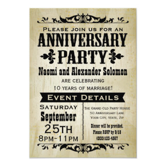 Vintage Country Anniversary Party Invitation