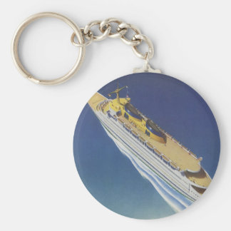 Vintage Cruise Ship in the Ocean Seen from Above Basic Round Button Key Ring