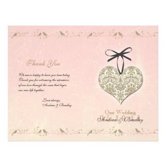 Vintage Damask Heart Wedding Program 21.5 Cm X 28 Cm Flyer