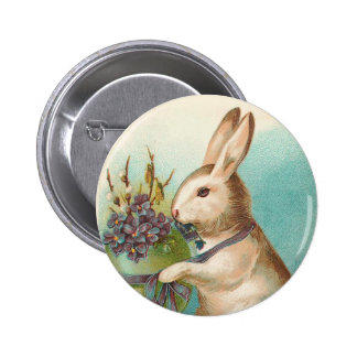 Vintage Easter Bunny With Green Egg 6 Cm Round Badge