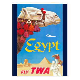 Vintage Egypt Air Travel Advertisement Postcard