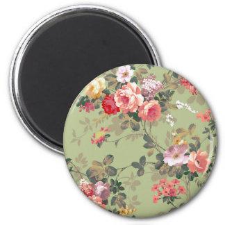 Vintage Elegant Pink Red Yellow Roses Pattern 6 Cm Round Magnet
