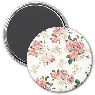 Vintage Elegant Pink Roses Pattern 7.5 Cm Round Magnet