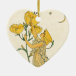 Vintage Fairy Tale, Evening Primrose, Walter Crane Ceramic Heart Decoration
