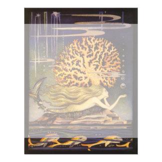 Vintage Fairy Tale, Little Mermaid in Ocean Coral 21.5 Cm X 28 Cm Flyer