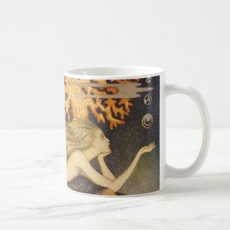 Vintage Fairy Tale, Little Mermaid in Ocean Coral Basic White Mug