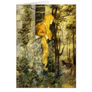 Vintage Fairy Tale, Rapunzel with Long Blonde Hair Greeting Card