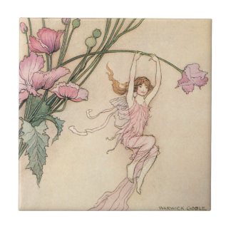 Vintage Fairy Tales, Three Spirits Filled With Joy Small Square Tile