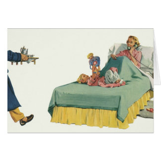 Vintage Family Serving Mom Breakfast in Bed Greeting Card