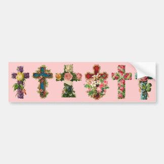 Vintage Floral Cross Bumper Sticker
