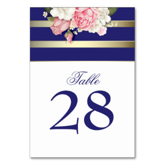 Vintage Floral Gold Navy White Stripes Wedding Table Cards
