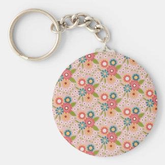 Vintage Floral print Basic Round Button Key Ring