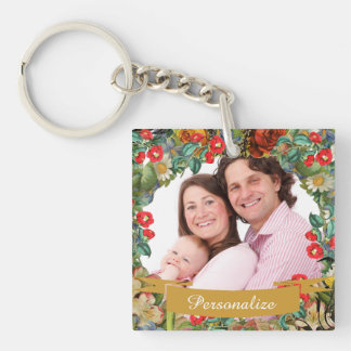 Vintage Floral Single-Sided Square Acrylic Key Ring