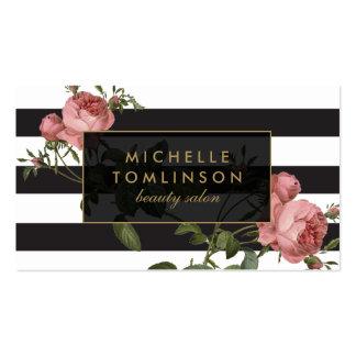 Vintage Floral Striped Salon II Business Card