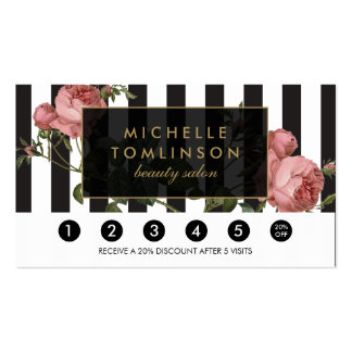 Vintage Floral Striped Salon Loyalty Card Pack Of Standard Business Cards