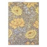 Vintage Floral Wallpaper Chrysanthemums Greeting Card