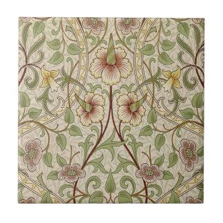 Vintage Floral Wallpaper Design - Daffodil Small Square Tile