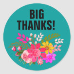 Vintage Folklore Floral Thank You | teal white Round Sticker