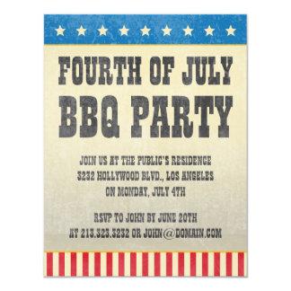 Vintage Fourth of July American BBQ Party 11 Cm X 14 Cm Invitation Card