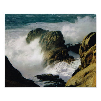 Vintage France, Bretagne coast, rough sea and rock Poster