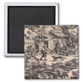 Vintage French Country Toile Black Fridge Magnet