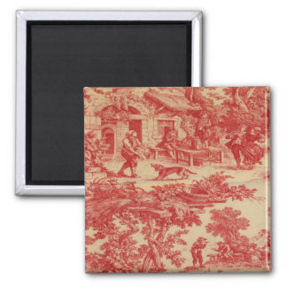 Vintage French Country Toile Red Fridge Magnet