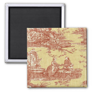 Vintage French Country Toile Red Yellow Magnet