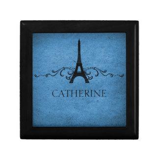 Vintage French Flourish Gift Box, Blue Small Square Gift Box