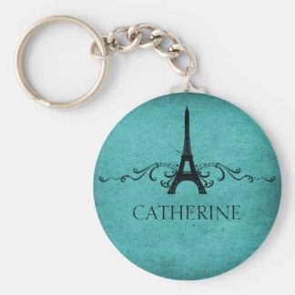 Vintage French Flourish Keychain, Teal Basic Round Button Key Ring